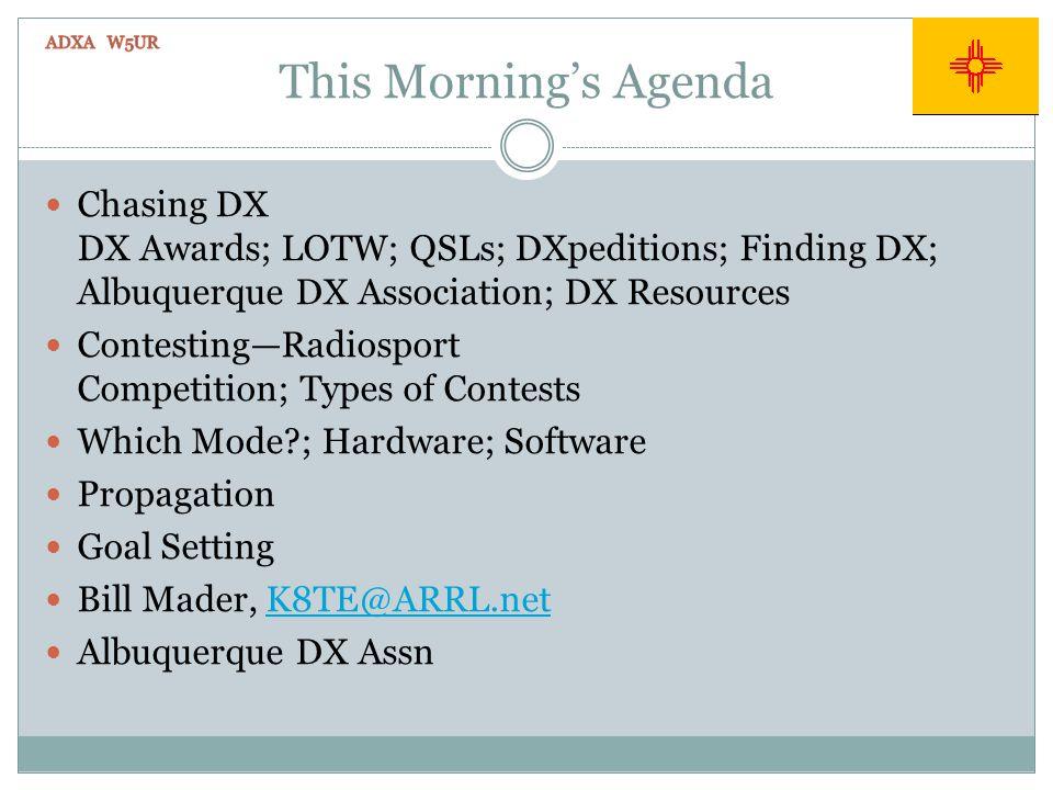 This Mornings Agenda Chasing DX DX Awards; LOTW; QSLs; DXpeditions; Finding DX; Albuquerque DX Association; DX Resources ContestingRadiosport Competit