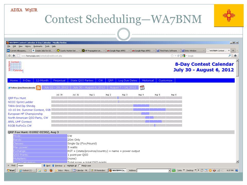 Contest SchedulingWA7BNM