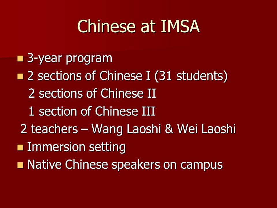 Chinese at IMSA 3-year program 3-year program 2 sections of Chinese I (31 students) 2 sections of Chinese I (31 students) 2 sections of Chinese II 2 s