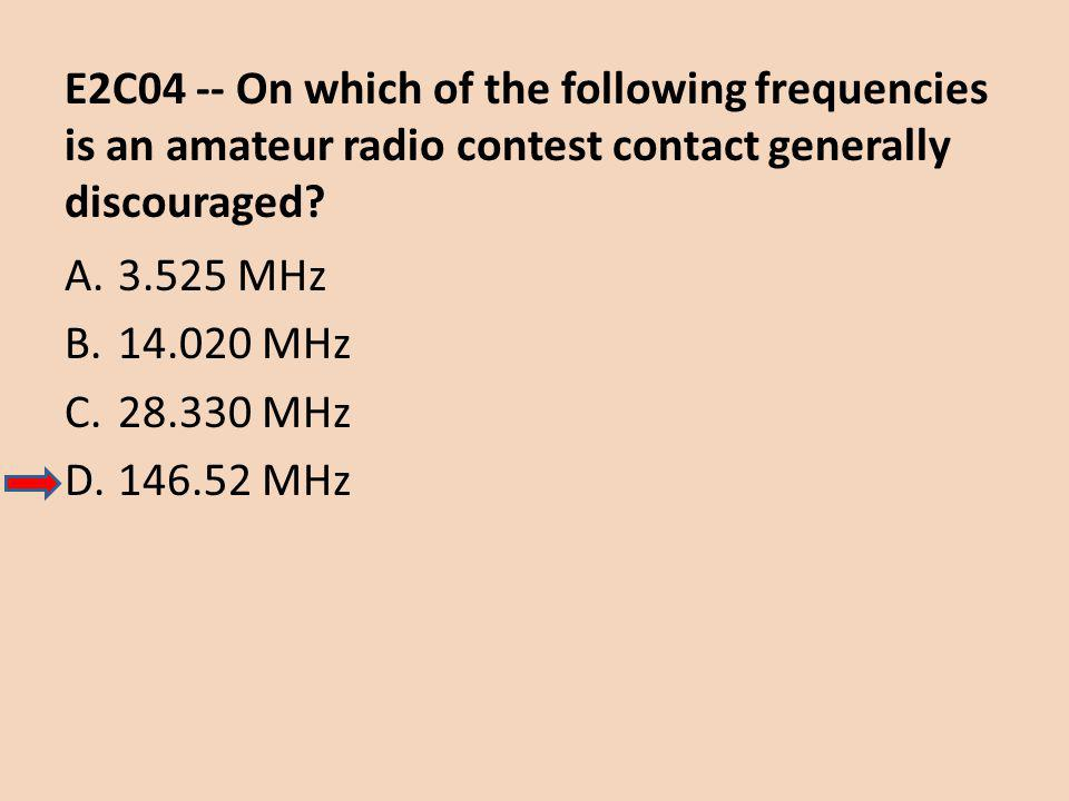 E2C04 -- On which of the following frequencies is an amateur radio contest contact generally discouraged.