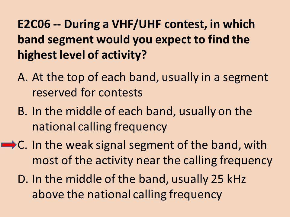 E2C06 -- During a VHF/UHF contest, in which band segment would you expect to find the highest level of activity.