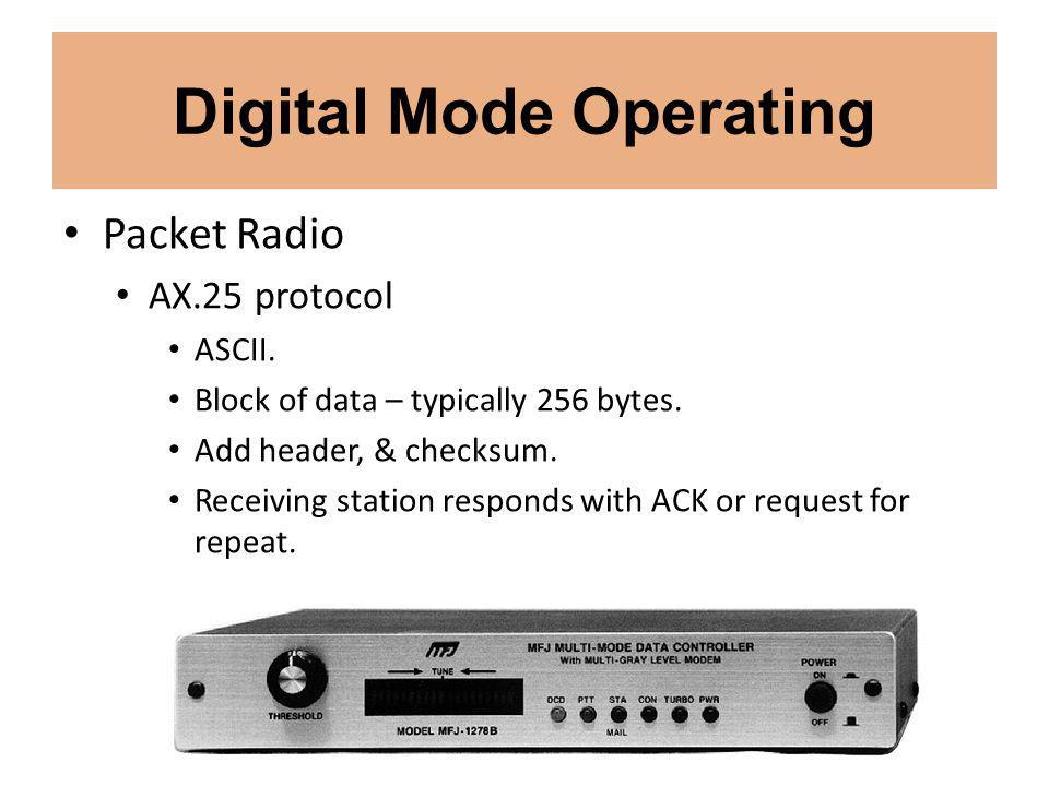 Digital Mode Operating Packet Radio AX.25 protocol ASCII.