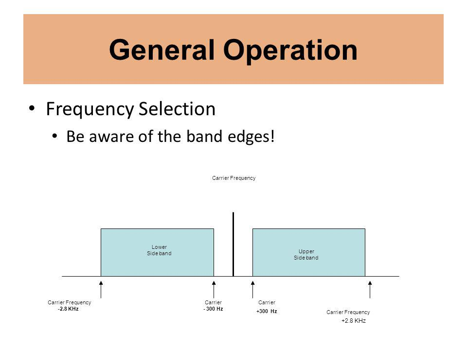 General Operation Frequency Selection Be aware of the band edges.