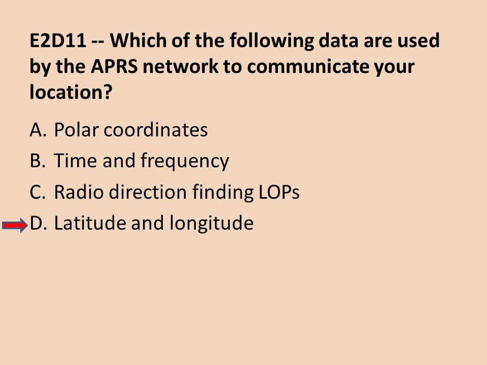 E2D11 -- Which of the following data are used by the APRS network to communicate your location.