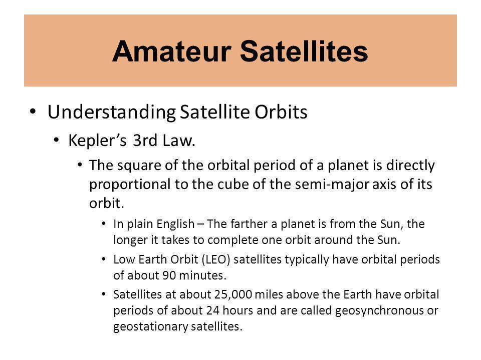 Amateur Satellites Understanding Satellite Orbits Keplers 3rd Law.