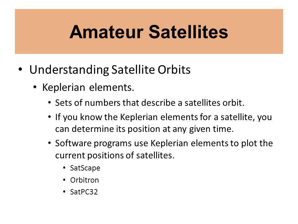Amateur Satellites Understanding Satellite Orbits Keplerian elements.
