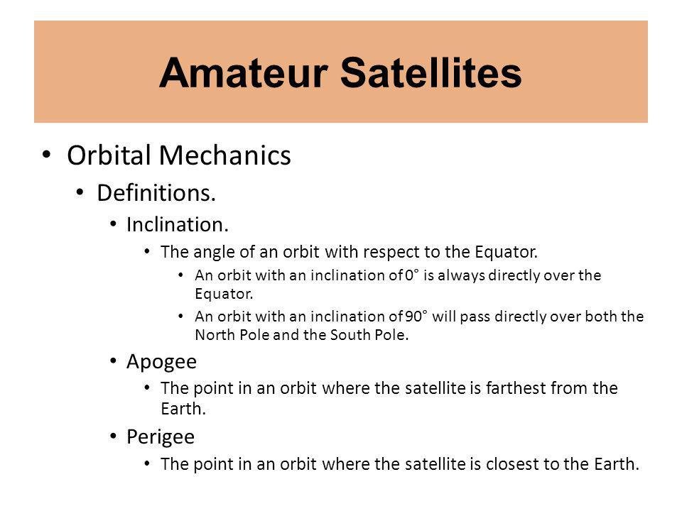 Amateur Satellites Orbital Mechanics Definitions. Inclination.