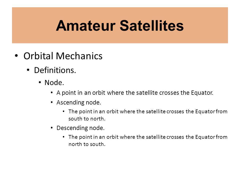 Amateur Satellites Orbital Mechanics Definitions. Node.