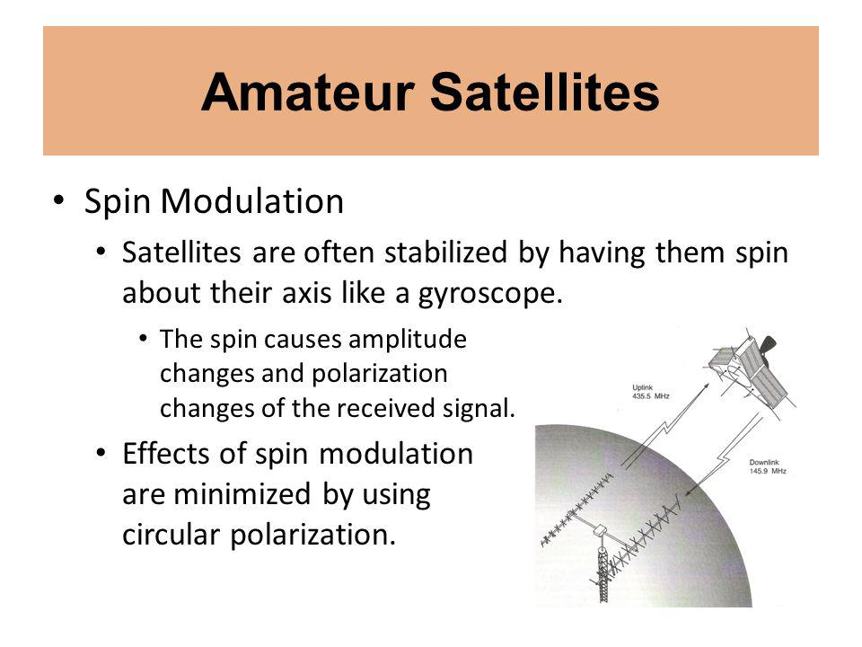 Amateur Satellites Spin Modulation Satellites are often stabilized by having them spin about their axis like a gyroscope.