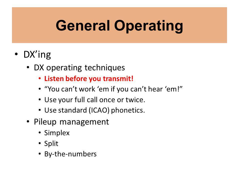 General Operating DXing Split operation.