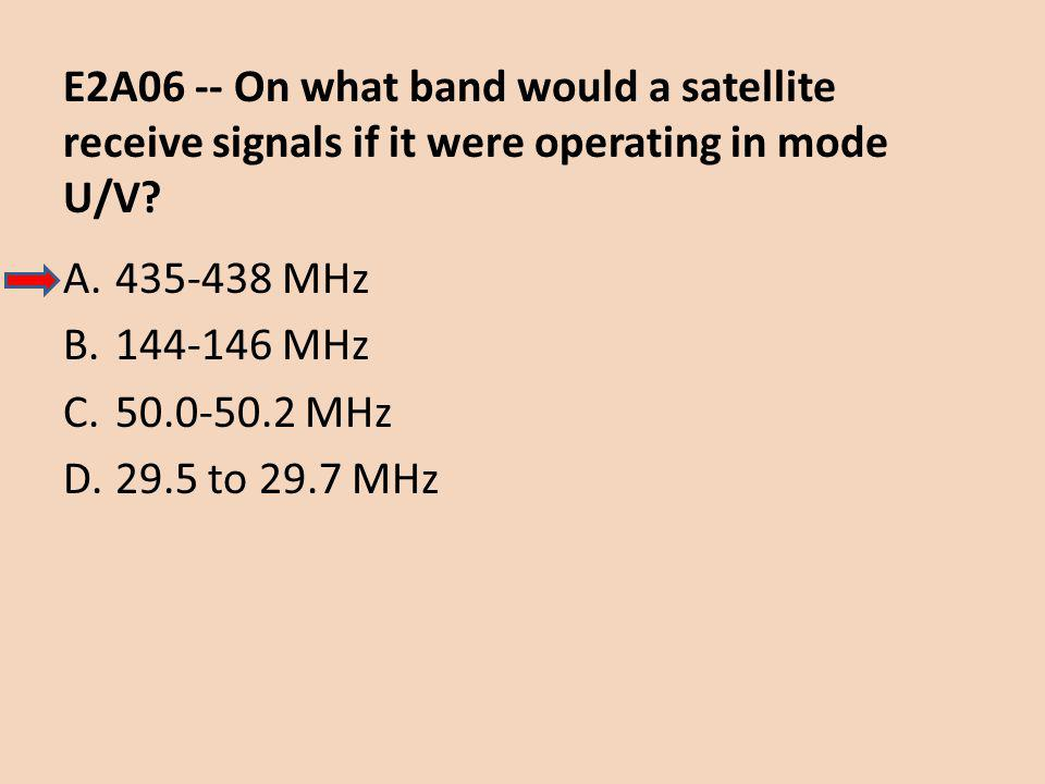 E2A06 -- On what band would a satellite receive signals if it were operating in mode U/V.