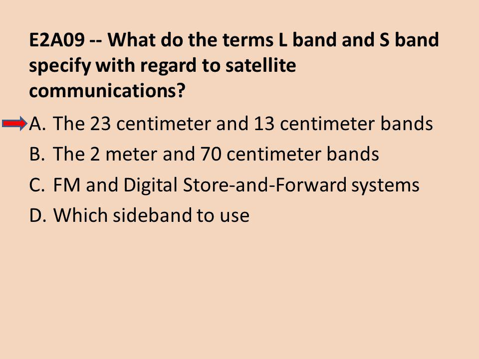 E2A09 -- What do the terms L band and S band specify with regard to satellite communications.