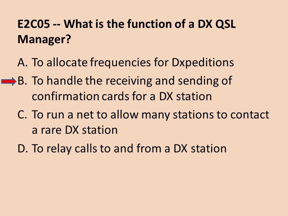 E2C05 -- What is the function of a DX QSL Manager.