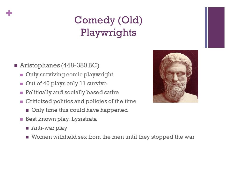 + Comedy (Old) Playwrights Aristophanes (448-380 BC) Only surviving comic playwright Out of 40 plays only 11 survive Politically and socially based satire Criticized politics and policies of the time Only time this could have happened Best known play: Lysistrata Anti-war play Women withheld sex from the men until they stopped the war