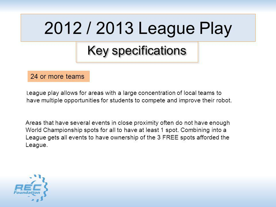 2012 / 2013 League Play Key specifications L eague play allows for areas with a large concentration of local teams to have multiple opportunities for