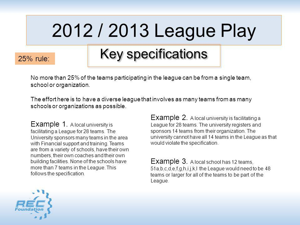 2012 / 2013 League Play Key specifications No more than 25% of the teams participating in the league can be from a single team, school or organization