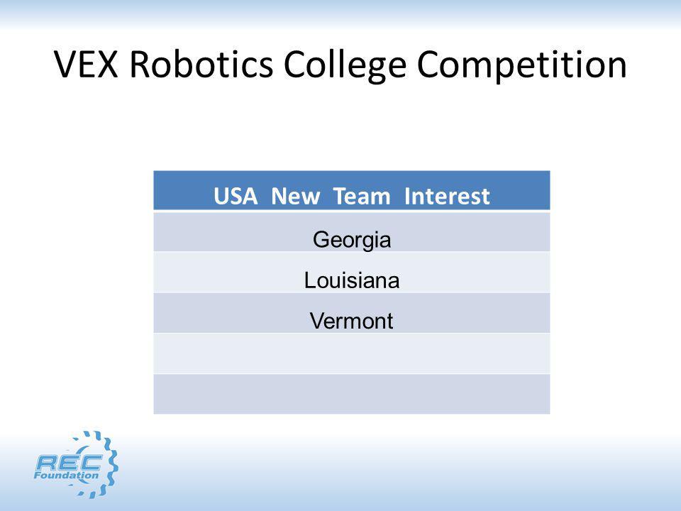 VEX Robotics College Competition USA New Team Interest Georgia Louisiana Vermont