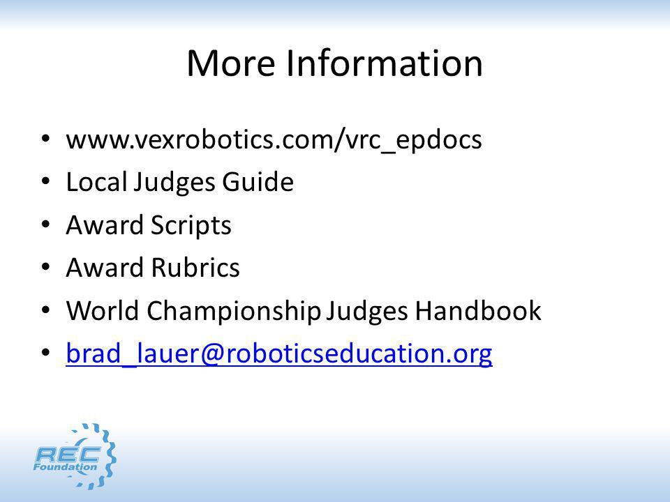 More Information www.vexrobotics.com/vrc_epdocs Local Judges Guide Award Scripts Award Rubrics World Championship Judges Handbook brad_lauer@roboticseducation.org