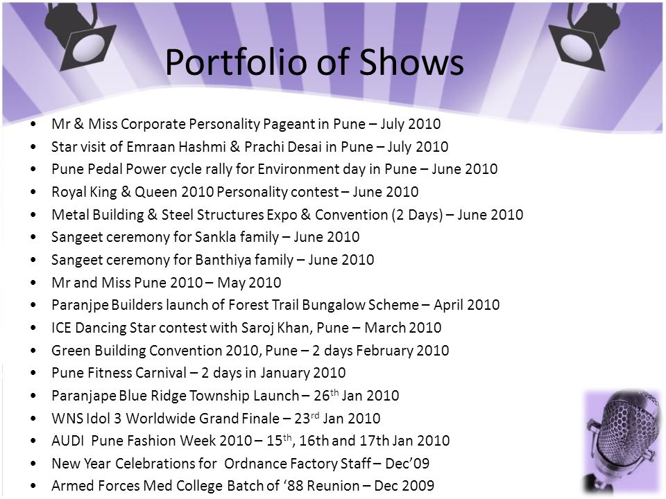 Portfolio of Shows Mr & Miss Corporate Personality Pageant in Pune – July 2010 Star visit of Emraan Hashmi & Prachi Desai in Pune – July 2010 Pune Ped