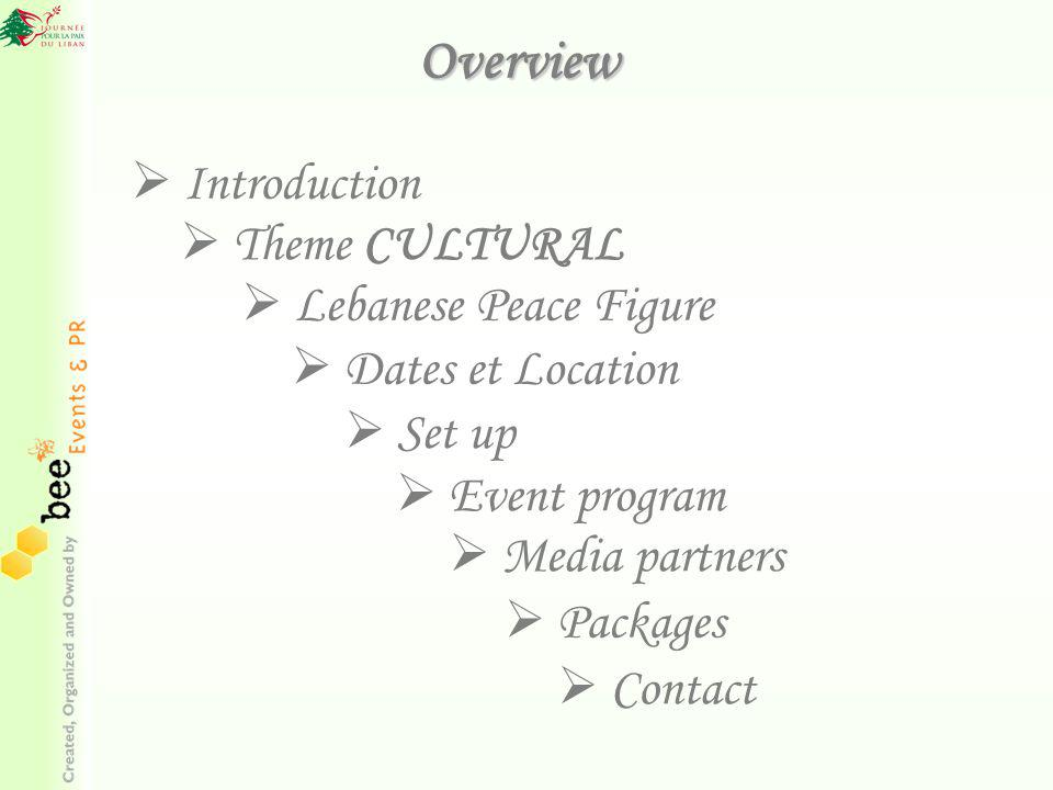 Overview Theme CULTURAL Theme CULTURAL Packages Introduction Dates et Location Set up Event program Contact Lebanese Peace Figure Lebanese Peace Figure Media partners