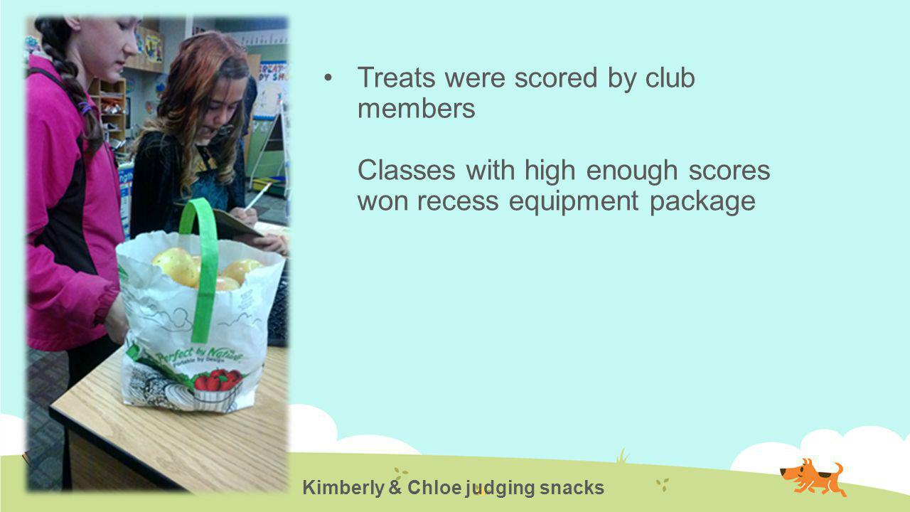 Treats were scored by club members Classes with high enough scores won recess equipment package Kimberly & Chloe judging snacks
