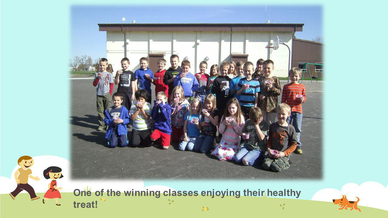 One of the winning classes enjoying their healthy treat!
