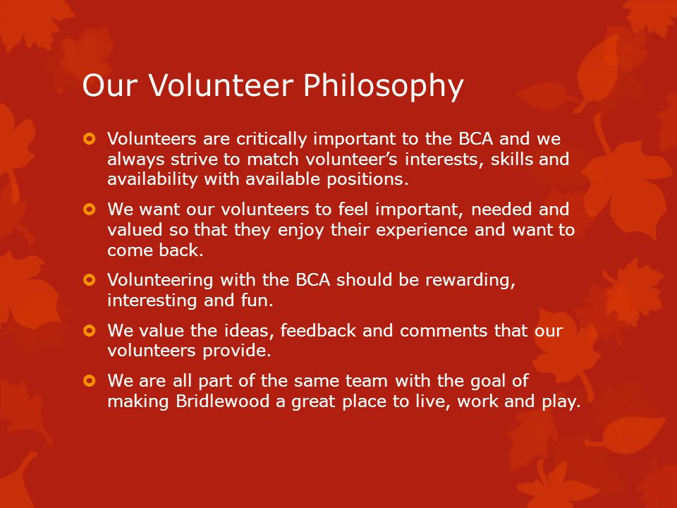 Why Volunteers are so important The BCA is entirely dependent on Volunteers Without Volunteers we would not have an Executive Without Volunteers we could not hold any events o No Spring Sports o No March Break Movie Night o No True Sport Play Day o No Family Bike Chase o No Member and Volunteer BBQ o No December Social or Decorating Contest