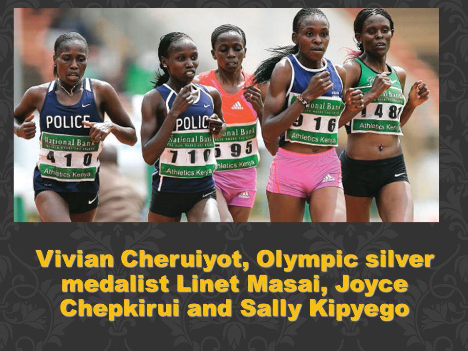 Vivian Cheruiyot, Olympic silver medalist Linet Masai, Joyce Chepkirui and Sally Kipyego