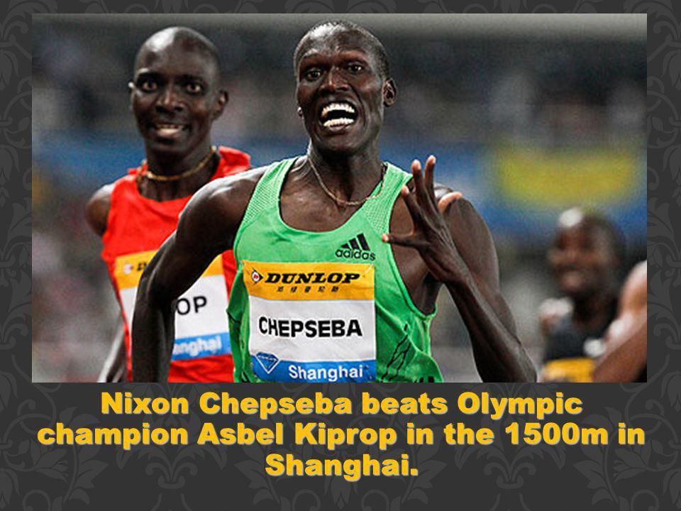 Nixon Chepseba beats Olympic champion Asbel Kiprop in the 1500m in Shanghai.