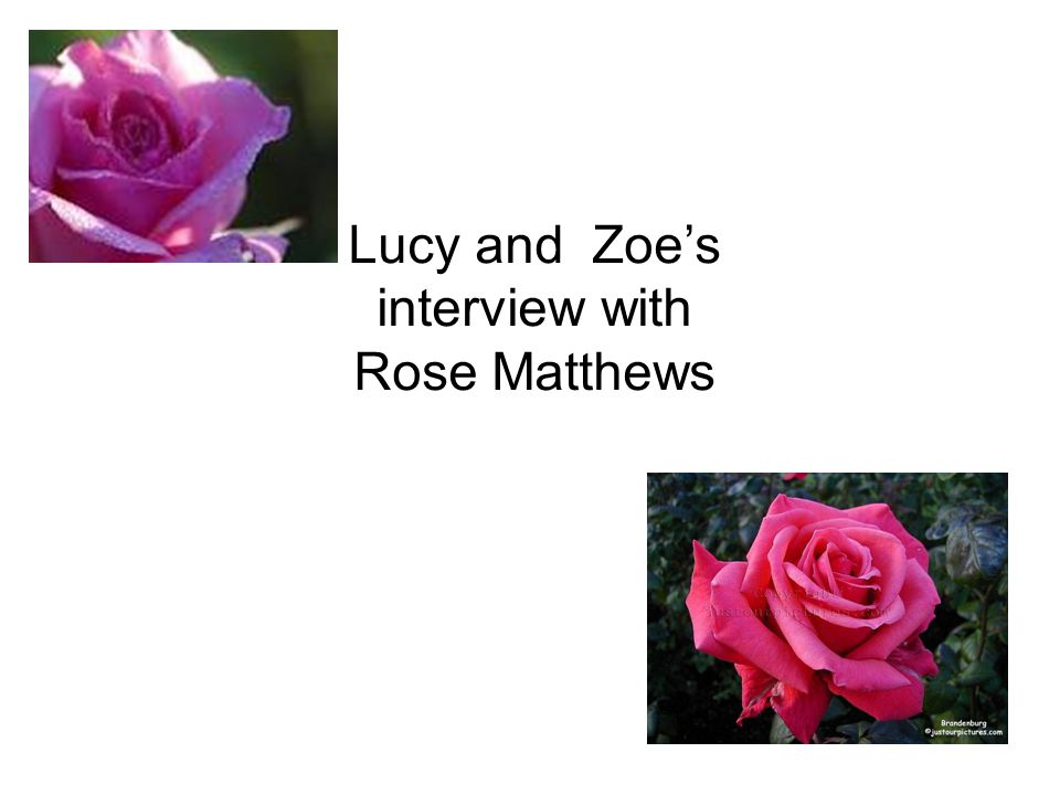 Lucy and Zoes interview with Rose Matthews