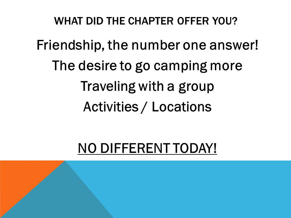 LEARN THE IMPORTANCE OF KEEPING THE CHAPTER ALIVE Do not become a stagnant chapter Do interesting things together Try different locations for camping Choose themes for chapter campouts