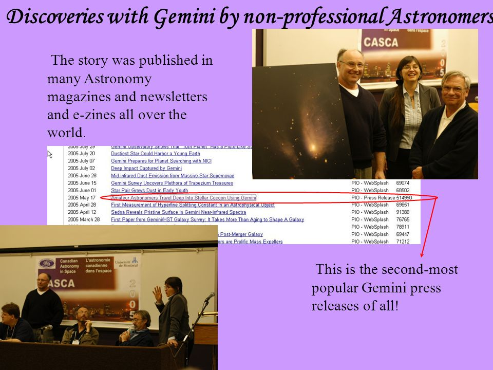 Discoveries with Gemini by non-professional Astronomers This is the second-most popular Gemini press releases of all.