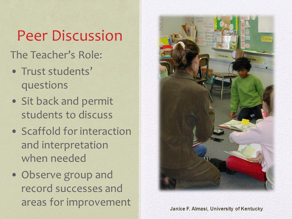 Peer Discussion Janice F. Almasi, University of Kentucky The Teachers Role: Trust students questions Sit back and permit students to discuss Scaffold