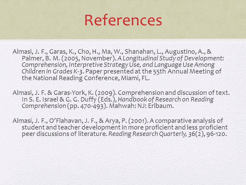 References Almasi, J. F., Garas, K., Cho, H., Ma, W., Shanahan, L., Augustino, A., & Palmer, B. M. (2005, November). A Longitudinal Study of Developme