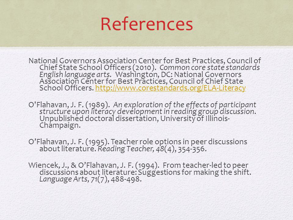 References National Governors Association Center for Best Practices, Council of Chief State School Officers (2010). Common core state standards Englis