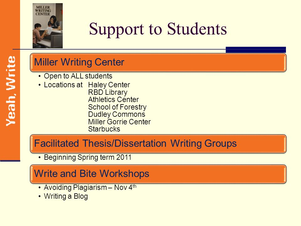 Enhancing the Culture of Writing Support to Students Support to Faculty Celebrate and Promote Writing Research and Assessment Outreach
