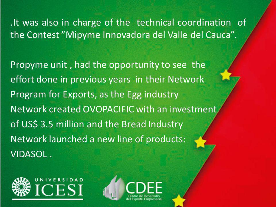 .It was also in charge of the technical coordination of the Contest Mipyme Innovadora del Valle del Cauca.
