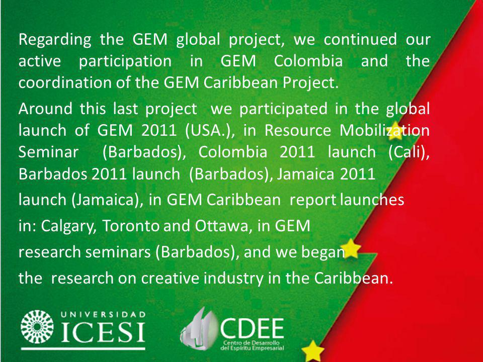 Regarding the GEM global project, we continued our active participation in GEM Colombia and the coordination of the GEM Caribbean Project.