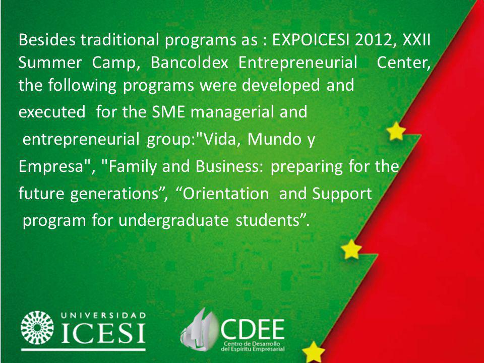Besides traditional programs as : EXPOICESI 2012, XXII Summer Camp, Bancoldex Entrepreneurial Center, the following programs were developed and executed for the SME managerial and entrepreneurial group: Vida, Mundo y Empresa , Family and Business: preparing for the future generations, Orientation and Support program for undergraduate students.