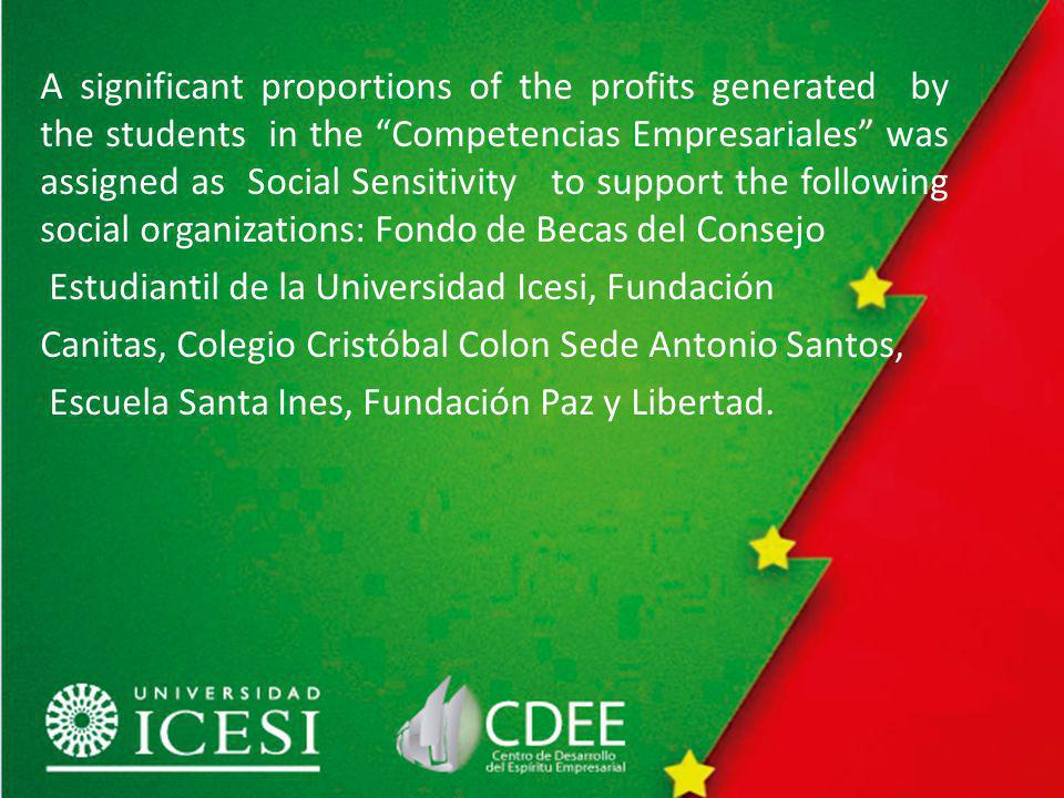 A significant proportions of the profits generated by the students in the Competencias Empresariales was assigned as Social Sensitivity to support the following social organizations: Fondo de Becas del Consejo Estudiantil de la Universidad Icesi, Fundación Canitas, Colegio Cristóbal Colon Sede Antonio Santos, Escuela Santa Ines, Fundación Paz y Libertad.