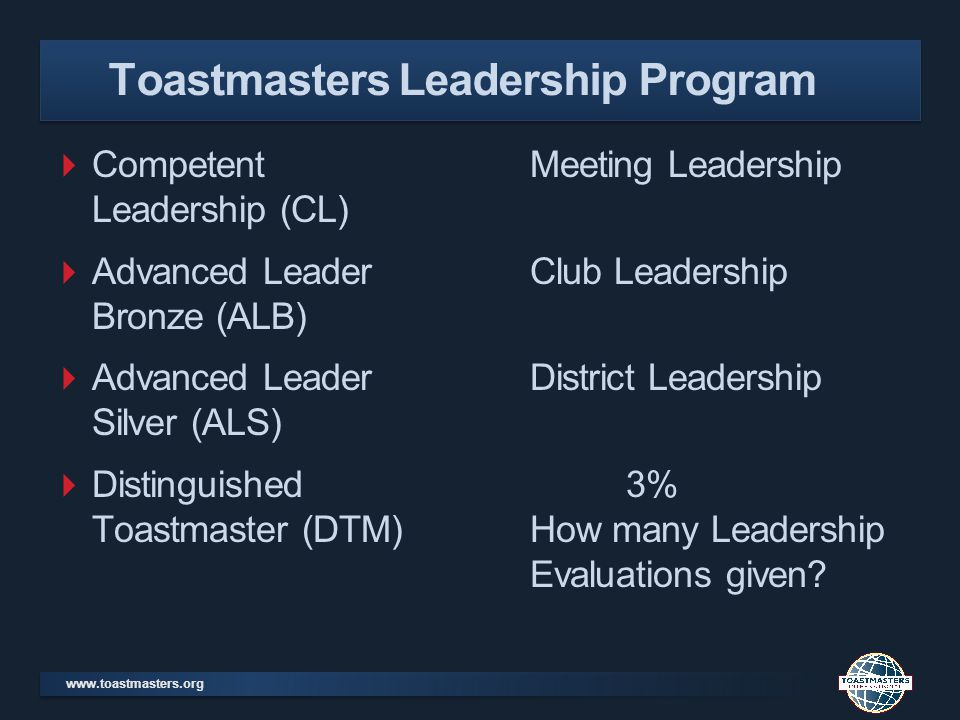 www.toastmasters.org Competent Meeting Leadership Leadership (CL) Advanced Leader Club Leadership Bronze (ALB) Advanced Leader District Leadership Silver (ALS) Distinguished 3% Toastmaster (DTM)How many Leadership Evaluations given.