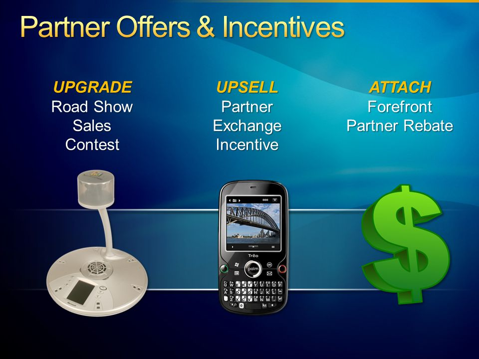 UPGRADE Road Show Sales Contest UPSELL Partner Exchange Incentive ATTACHForefront Partner Rebate