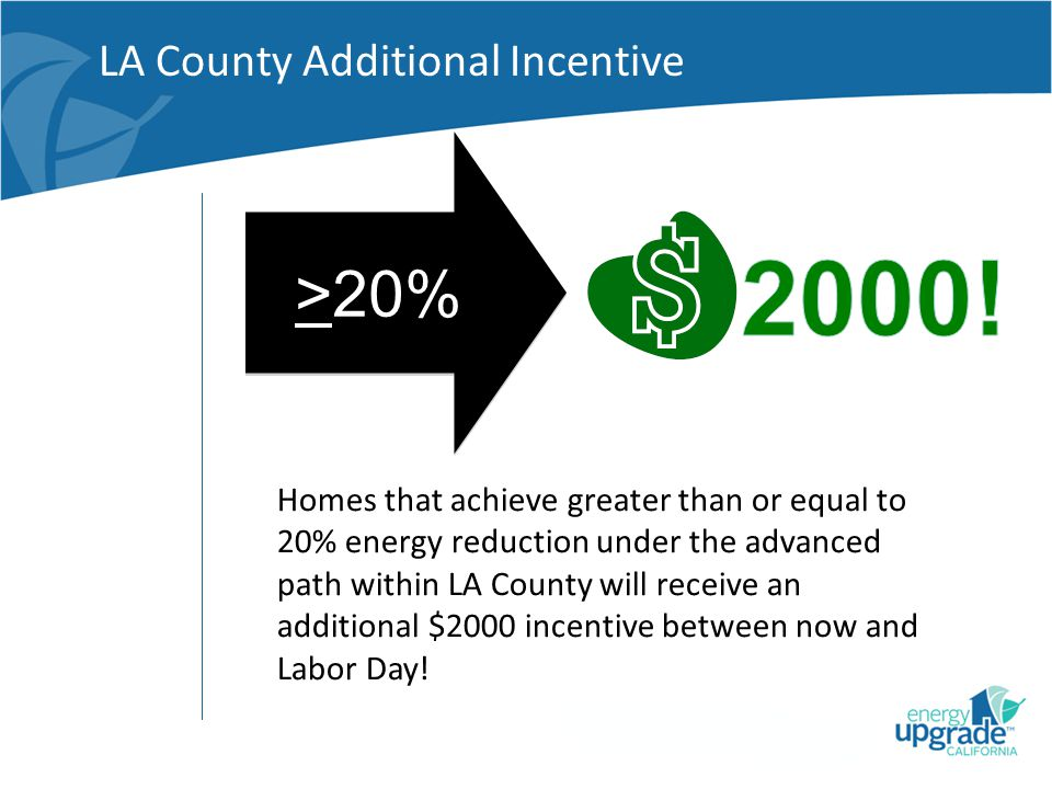 LA County Additional Incentive >20% Homes that achieve greater than or equal to 20% energy reduction under the advanced path within LA County will receive an additional $2000 incentive between now and Labor Day!