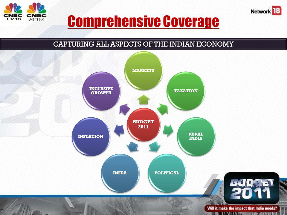 Comprehensive Coverage BUDGET 2011 MARKETSTAXATION RURAL INDIA POLITICALINFRAINFLATION INCLUSIVE GROWTH CAPTURING ALL ASPECTS OF THE INDIAN ECONOMY