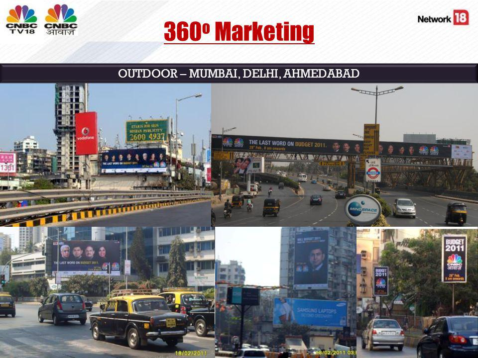OUTDOOR – MUMBAI, DELHI, AHMEDABAD 360 o Marketing