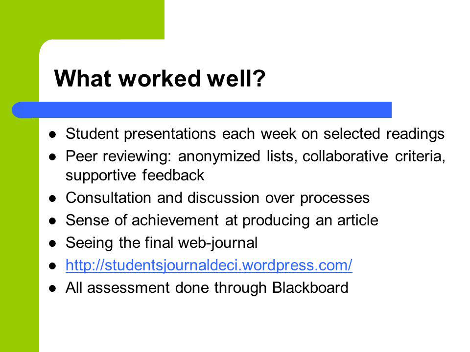 What worked well? Student presentations each week on selected readings Peer reviewing: anonymized lists, collaborative criteria, supportive feedback C