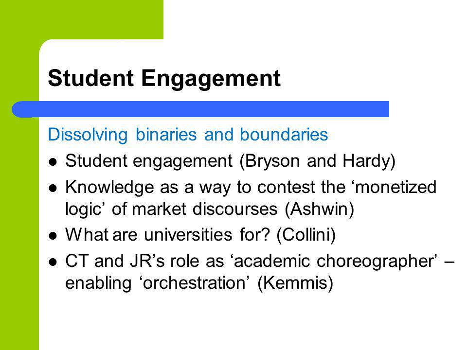 Student Engagement Dissolving binaries and boundaries Student engagement (Bryson and Hardy) Knowledge as a way to contest the monetized logic of marke