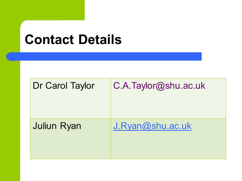 Contact Details Dr Carol TaylorC.A.Taylor@shu.ac.uk Juliun RyanJ.Ryan@shu.ac.uk