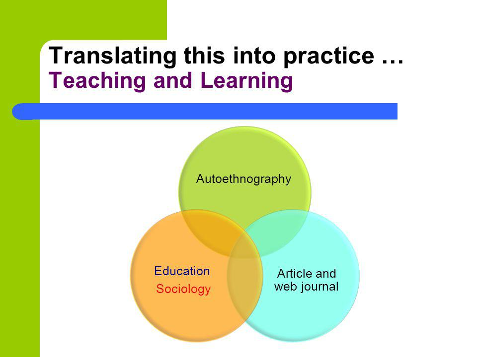 Translating this into practice … Teaching and Learning Autoethnography Article and web journal Education Sociology