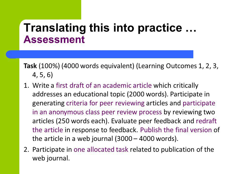 Translating this into practice … Assessment Task (100%) (4000 words equivalent) (Learning Outcomes 1, 2, 3, 4, 5, 6) 1. Write a first draft of an acad